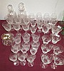 Qty of cut glass wine glasses, tankards &