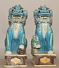 Pair Blue Glazed Porcelain Foo_lion
