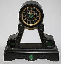 French Napoleon III clock in marble with malachite