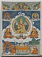 A SMALL BUT FINE THANKA OF TSONGKHAPA. Tibet, 19th c. 46.5x34 cm.