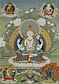 A THANKA OF AVALOKITESHVARA SHADAKSHARI. Tibet, 19th c. 62x42.5 cm. Framed.