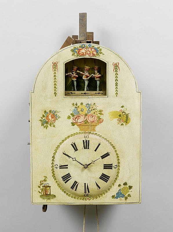 A LARGE FLUTE CLOCK WITH AUTOMATON, Biedermeier,