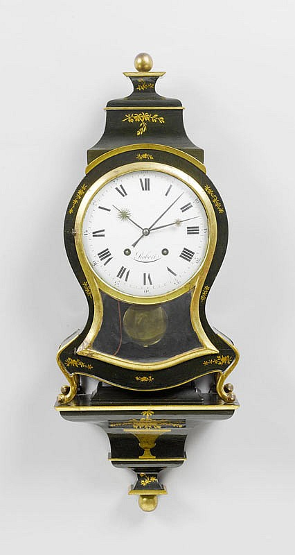 CLOCK ON PLINTH with alarm, Neuchâtel, circa 1800.