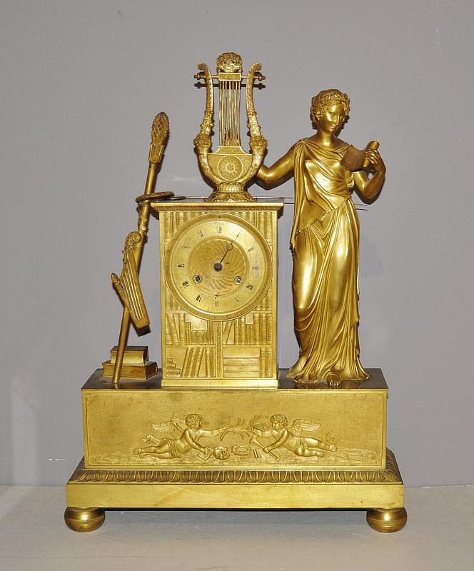 A GILT BRONZE MANTEL CLOCK, Restauration, Paris,