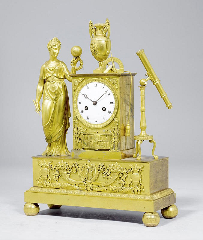 A BRONZE MANTEL CLOCK with an allegorical