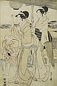 A WOOD CUT PRINT BY HOSODA EISHI (1756-1829). Oban, right sheet of the triptych 'Bijin strolling at Takanawa'. Signed: Eishi zu. 1797.