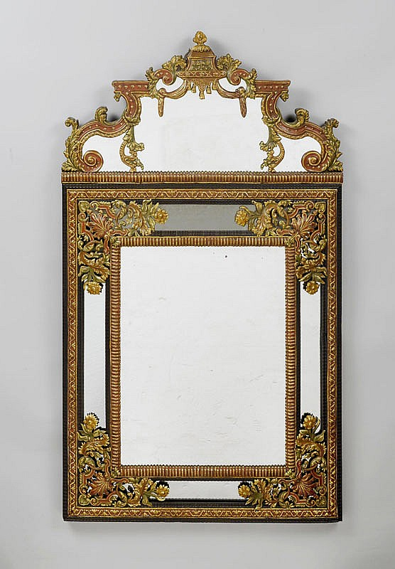 A PAINTED AND METAL PLATED MIRROR, Baroque style,