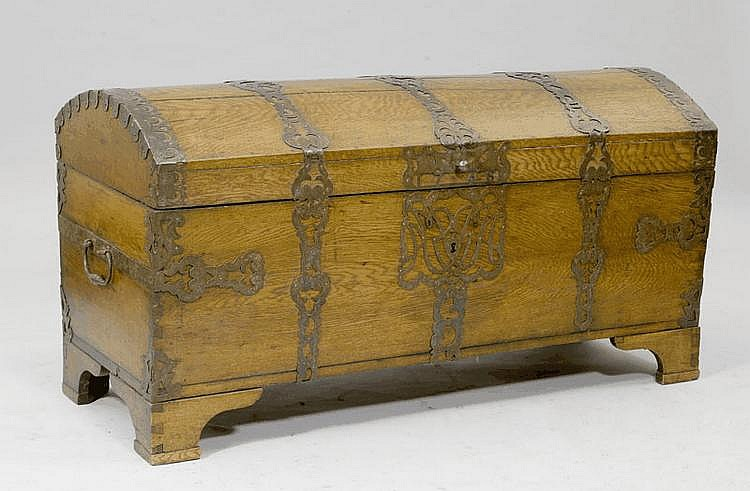 A CHEST WITH BARREL-SHAPED LID, Northern Germany,
