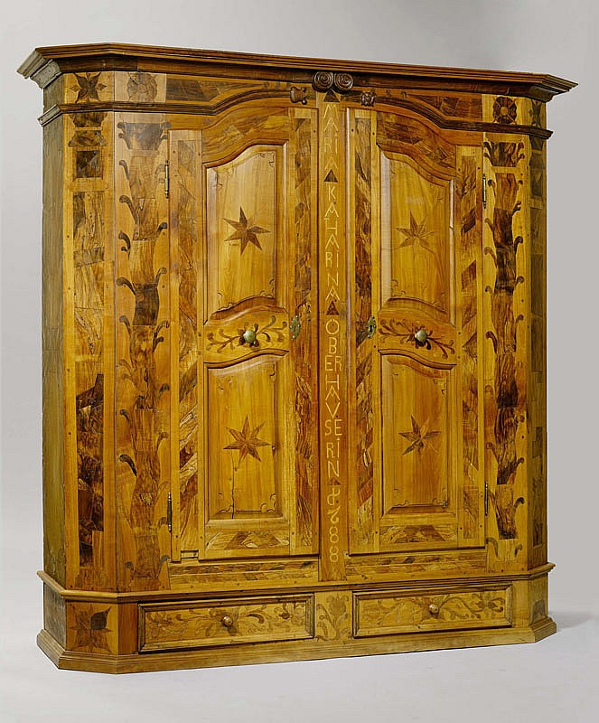 A RARE CUPBOARD WITH INLAID DECORATION, Baroque,
