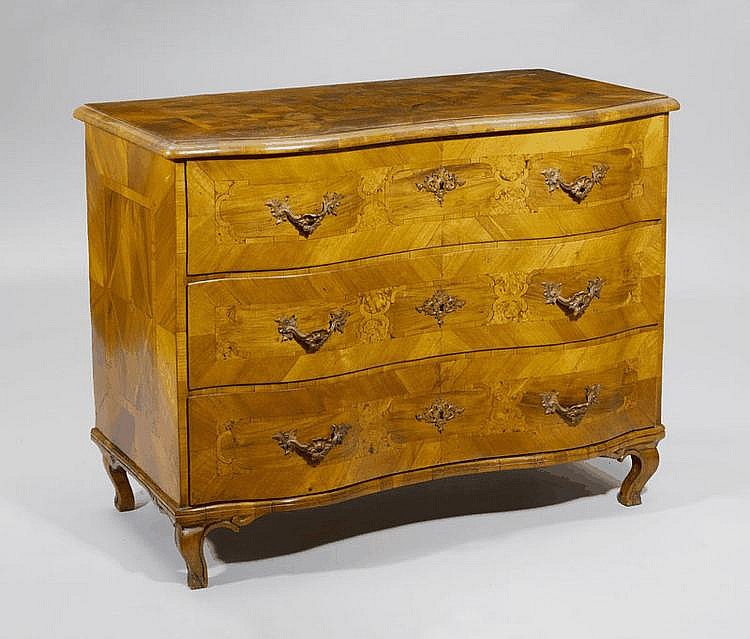 A BAROQUE CHEST OF DRAWERS, Switzerland. Walnut,