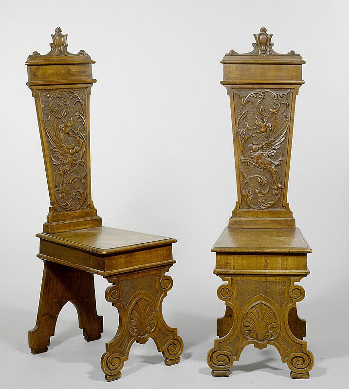 A PAIR OF SGABELLI, Renaissance style, 19th c.