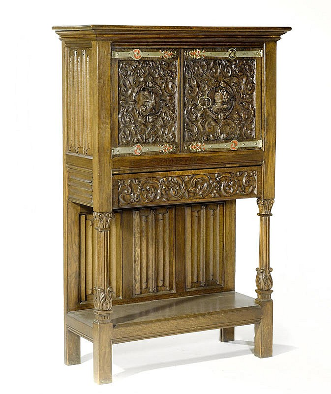 A GERMAN CARVED OAK CABINET, Renaissance style,