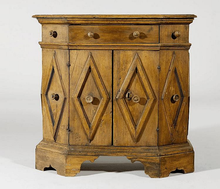 A RENAISSANCE STYLE WALNUT SIDE CUPBOARD, partly