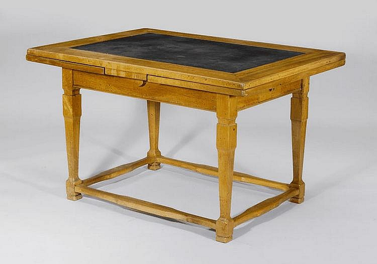AN EXTENDABLE SLATE-TOP TABLE, Biedermeier,