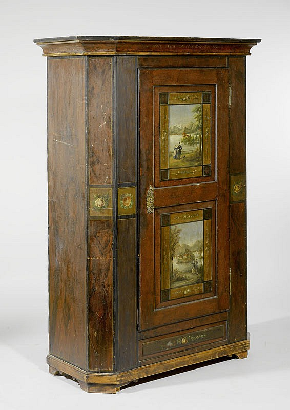 A PAINTED CUPBOARD, Toggenburg, inscribed JUNGFRAU