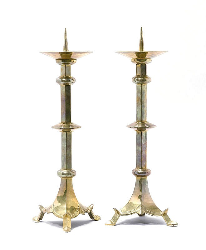 PAIR OF CANDLESTICKS, France, in Gothic style,