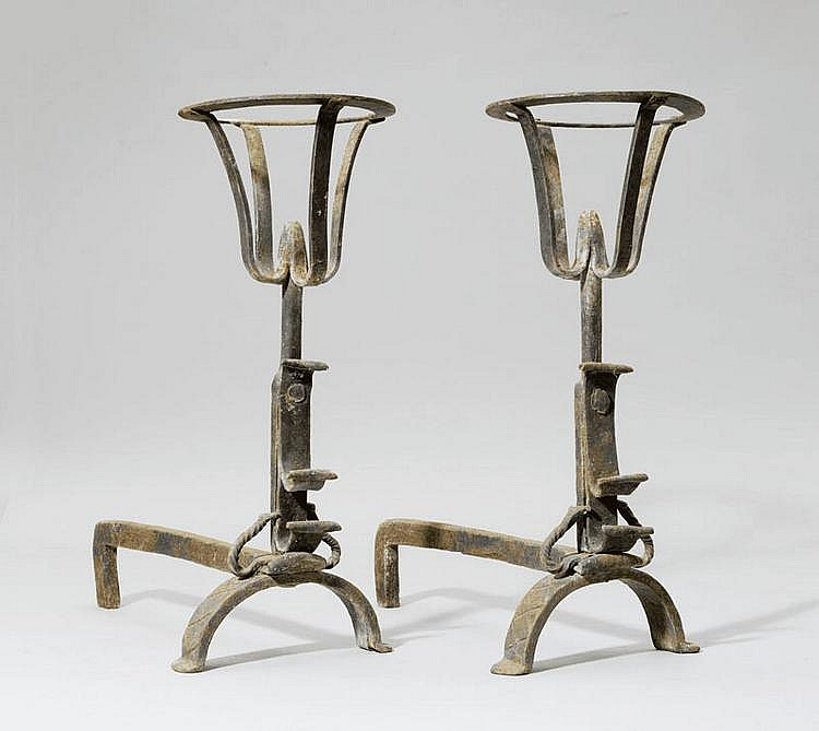 PAIR OF FIREPLACE CHENETS, in Gothic style, 19th