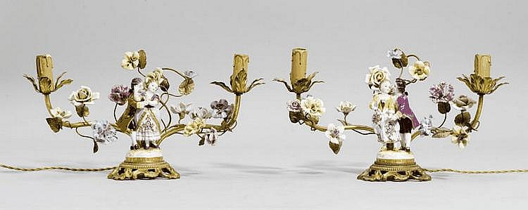 PAIR OF FIGURAL CANDLEHOLDERS, Louis XV style,