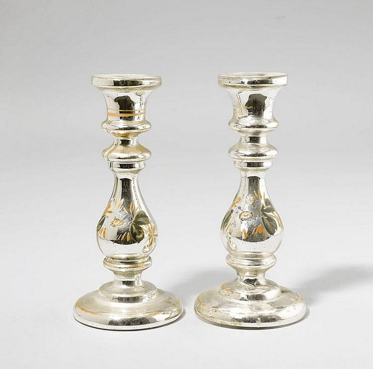 PAIR OF SMALL CANDLESTICKS, Bohemia, circa 1900.