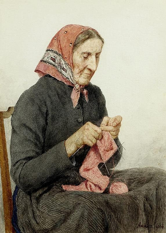 ANKER, ALBERT (1831 Ins 1910) Seated peasant woman