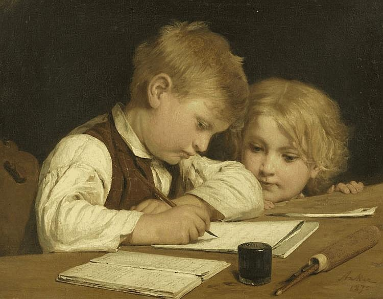 ANKER, ALBERT (1831 Ins 1910) Young boy writing