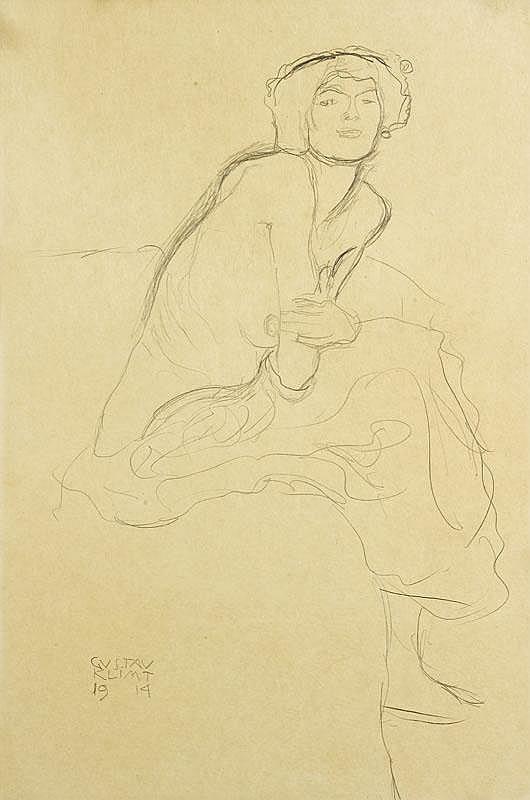 KLIMT, GUSTAV (1862 Vienna 1918) Nude figure bent