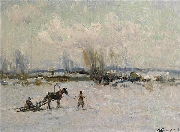 KARPOFF, IVAN Winterlandschaft mit Schlittengespann. Öl auf Holz. 33 x 43 cm.