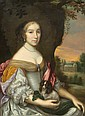 FRANCE, ca. 1660Portrait of a Lady with a Dog.Oil