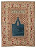 GHIORDES PRAYER antique. Blue mihrab with green