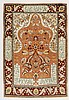 HEREKE SILK old. Salmon-pink mihrab with white