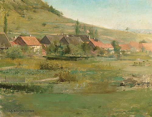 BASTIEN-LEPAGE, JULES. (1848 - 1884). Pays-village. Huile sur toile. Signé. 70x91 cm.