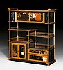 A BLACK AND GOLD LACQUER DISPLAY CABINET WITH