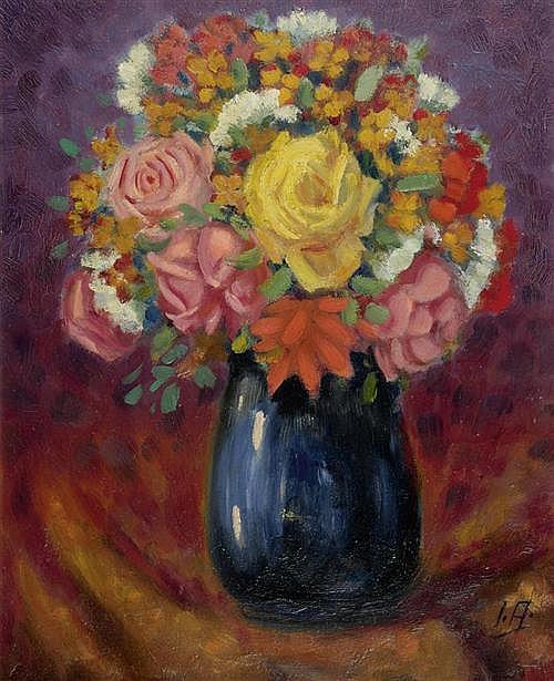 ANDENMATTEN, LEO (La Souste 1922 - 1979 Sitten) Blumenstrauss. Öl auf Malkarton. 40,2 x 31,5 cm.
