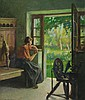GRÜN, MAURICE(1869 Reval 1947)At the window.Oil on