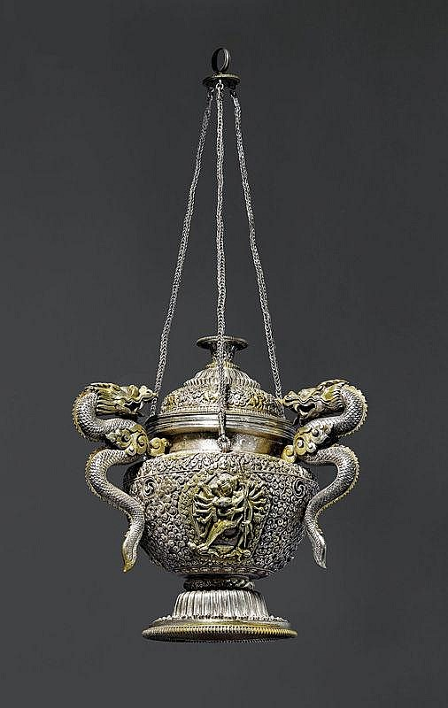A FINE SILVER ALLOY INCENSE VESSEL WITH DRAGON
