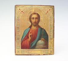 AN IMPERIAL RUSSIAN ICON OF CHRIST OIL ON PANEL