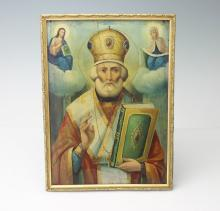 IMPERIAL RUSSIAN OIL ON PANEL ICON OF NICHOLAS