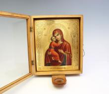 IMPERIAL RUSSIAN CASED ICON MARY AND JESUS