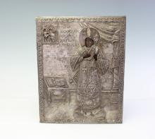 AN IMPERIAL RUSSIAN SILVER OKLAD ICON OF NICHOLAS