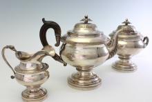FLETCHER & GARDINER COIN SILVER 3 PIECE TEA SET