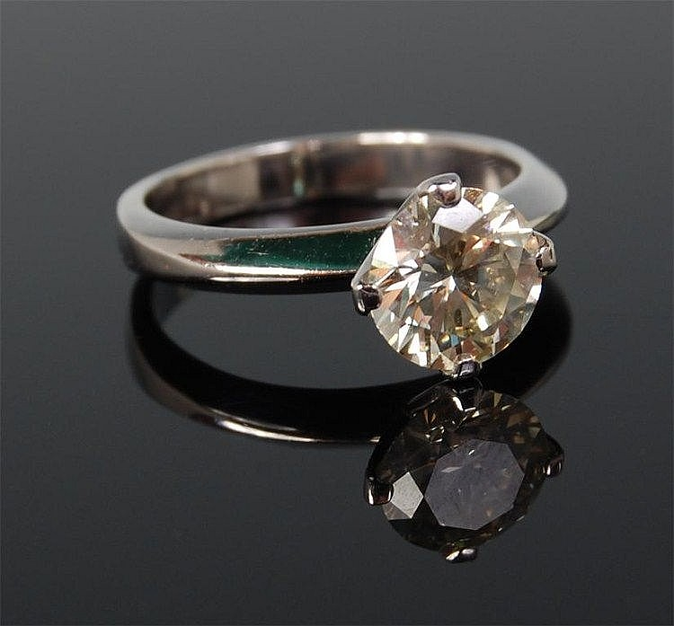 A contemporary 14ct white gold diamond solitaire