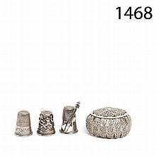 Silver box and thimbles