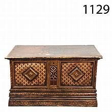 Gothic style chestnut chest  19th century