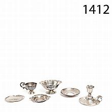 Silver centrepiece, cup and candlestick