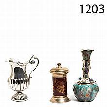 Silver and enamel jar, vase and bottle