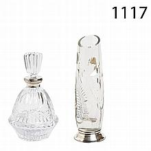 Glass and silver decanter and vase