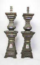 PAIR CHINESE ENAMELED PEWTER CANDLE HOLDERS