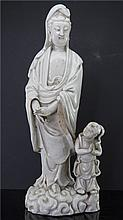 CHINESE BLANC DE CHINE GUANYIN FIGURE AND BOY
