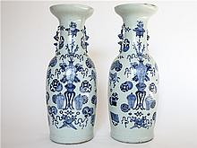 PAIR OF LARGE CHINESE PORCELAIN WHITE BLUE VASE