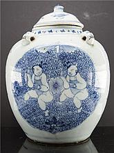 CHINESE PORCELAIN WHITE BLUE PORRIDGE JAR